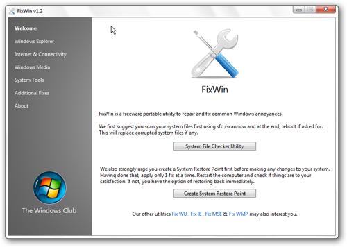 FixWin pantalla principal