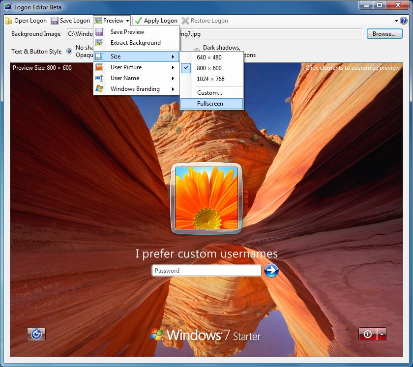 Logon editor 6 Herramientas para mejorar la apariencia de Windows 7