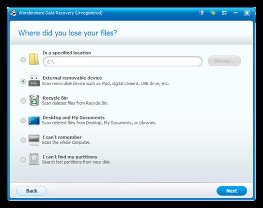 Wondershare Data recovery seleccionar Como recuperar archivos eliminados de una USB