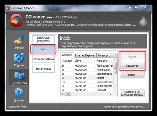 ccleaner inicio Solucion: Mi computadora esta muy lenta