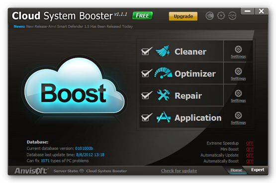 cloud system booster Cloud System Booster: Limpia y optimiza Windows