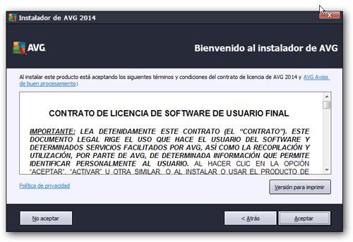 contrato licencia avg AVG Internet Security 2014 gratis por un año ...