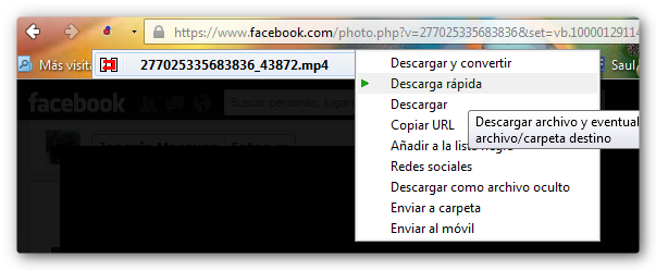 downloader helper Como descargar videos de Facebook