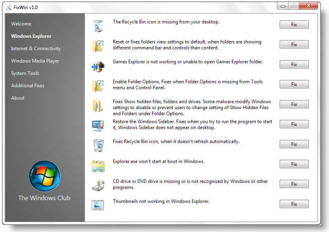 fixwin Como reparar errores en Windows 7 y vista con FixWin