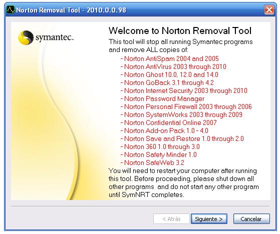 nortonremoval Como Desinstalar Norton Antivirus