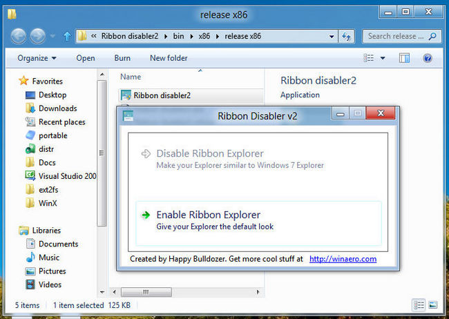 ribbon disabler Ribbon Disabler: Desactiva la interfaz Ribbon del explorador de archivos