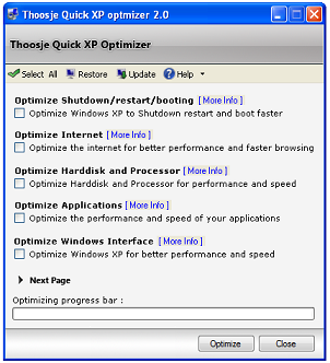 thoosje Thoosje quick XP Optimizer , Acelera windows xp con un click